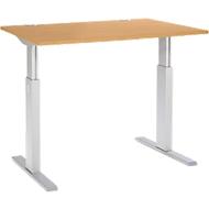 Bureautafel ERGO-T, T-poot, rechthoekig, eentraps elektrisch verstelbaar, b 1200 mm, beukendecor