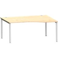 Bureautafel in vrije vorm MODENA FLEX, aanbouw rechts B 1800 mm esdoorn