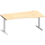 Bureautafel in vrije vorm MODENA FLEX, aanbouw rechts, breedte 1800 mm, esdoorn