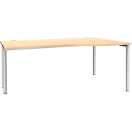 Bureautafel in vrije vorm MODENA FLEX, aanbouw rechts, esdoorn