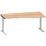 Bureautafel in vrije vorm MODENA FLEX, aanbouw rechts, kersen-Romana