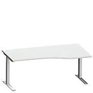 Bureautafel in vrije vorm MODENA FLEX, C-poot rechthoekige buis, B 1800 mm, aanbouw rechts, lichtgrijs/blank aluminium