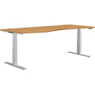 Bureautafel in vrije vorm MODENA FLEX, elektr. in hoogte verstelbaar, aanbouw links, B 1800 mm, beuken