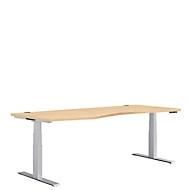 Bureautafel in vrije vorm MODENA FLEX, elektr. in hoogte verstelbaar, aanbouw links, B 1800 mm, esdoorn