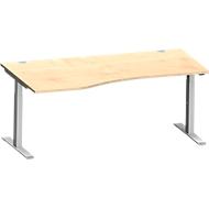 Bureautafel in vrije vorm MODENA FLEX, T-poot rechthoekige buis, B 1800 mm, aanbouw links, esdoorn/blank aluminium