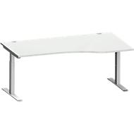 Bureautafel in vrije vorm MODENA FLEX, T-poot rechthoekige buis, B 1800 mm, aanbouw rechts, lichtgrijs/blank aluminium