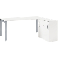 Bureautafel LOGIN, 1600 mm + schuifdeurblok LOGIN SET, wit