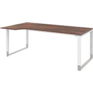 Bureautafel met aanbouw links TEQSTYLE, slede onderstel, vrije vorm, B 1800 x D 1000/800 mm, oxido/wit