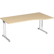 Bureautafel met aanbouw PALENQUE, C-poot, vrije vorm, handmatig in hoogte verstelbaar, aanbouw rechts, B 1800 x D 800/1000 x H 680-820 mm, esdoornpatroon