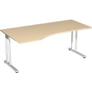 Bureautafel met aanbouw PALENQUE, C-poot, vrije vorm, links, B 1800 x D 1000/800 x H 680-820 mm, esdoornpatroon