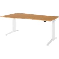 Bureautafel met aanbouw Planova Ergostyle, aanbouw links, eentraps elektr. in hoogte verstelbaar,  B 1800 mm, Beukenpatroon/wit