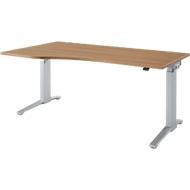 Bureautafel met aanbouw Planova Ergostyle, aanbouw links, eentraps elektr. in hoogte verstelbaar,  B 1800 mm, kersen-Romana-patroon/blank aluminium