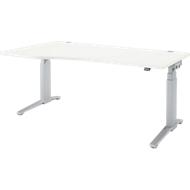 Bureautafel met aanbouw PLANOVA ERGOSTYLE, C-poot, aanbouw links, tweetraps elektrisch in hoogte verstelbaar, B 1800 mm, wit/blank aluminium