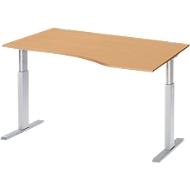 Bureautafel met aanbouw rechts ERGO-T, T-poot, handmatig in hoogte verstelbaar met inbussleutel, B 1800 mm, beuken
