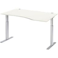 Bureautafel met aanbouw rechts ERGO-T, T-poot, handmatig in hoogte verstelbaar met inbussleutel, B 1800 mm, wit