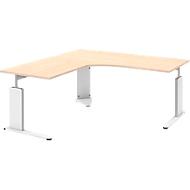 Bureautafel met aanbouwtafel links BARI, C-poot, vorm B, vrije vorm, B 1800 mm, esdoornpatroon