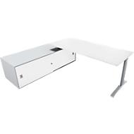 Bureautafel met sideboard links PHENOR, C-poot, rechthoek, wit