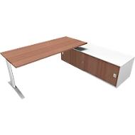 Bureautafel met sideboard rechts PHENOR, C-poot, rechthoek, notenhout-Canaletto-patroon