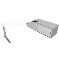 Bureautafel met sideboard rechts PHENOR, C-poot, rechthoek, wit