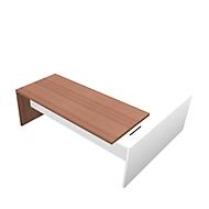 Bureautafel met sideboard X-TIME-WORK, wang, rechthoek, links, B 2200 x D 2200 x H 730 mm, notenhout-Canaletto-patroon
