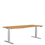 Bureautafel met vrije vorm MODENA FLEX, aanbouw links, b 1800 mm, beuken