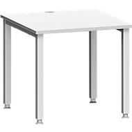 Bureautafel MODENA FLEX, 4-poot vierkante buis, B 800 x D 800, lichtgrijs