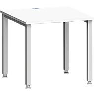Bureautafel MODENA FLEX, 4-poot vierkante buis, B 800 x D 800 mm, wit