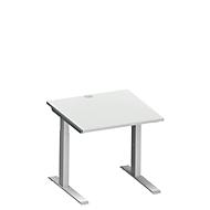 Bureautafel MODENA FLEX, C-poot rechthoekige buis, B 800 x D 800 mm, lichtgrijs/blank aluminium