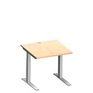 Bureautafel MODENA FLEX, rechthoekige C-poten, b 800 x d 800 mm, ahorn