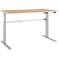 Bureautafel Moxxo IQ, elektrisch in hoogte verstelbaar, rechthoek, C-poot, B 1600 x D 800 x H 725-1185 mm, beukenpatroon/blank aluminium