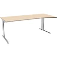 Bureautafel PLANOVA BASIC, B 2000 mm, esdoornpatroon, onderstel wit