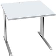 Bureautafel PLANOVA BASIC, B 800 mm x D 800 mm, onderstel blank aluminium, blad lichtgrijs