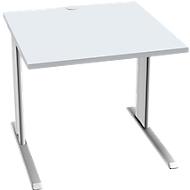 Bureautafel PLANOVA BASIC, B 800 mm x D 800 mm, onderstel wit, blad lichtgrijs