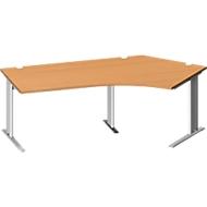 Bureautafel PLANOVA BASIC, C-poot, vrije vorm, aanbouw rechts, B 2165 x 800/800 mm, beukenpatroon, onderstel wit