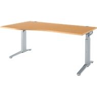 Bureautafel PLANOVA ERGOSTYLE, aanbouw links, handmatig in hoogte verstelbaar met inbussleutel, B 1800 mm, beuken/blank aluminium