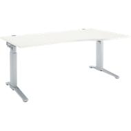 Bureautafel PLANOVA ERGOSTYLE, aanbouw rechts, handmatig in hoogte verstelbaar met inbussleutel, B 1800 mm, wit/blank aluminium