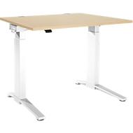 Bureautafel PLANOVA ergoSTYLE, C-poot, rechthoek, eentraps elektr. in hoogte verstelbaar, B 1200 mm, esdoornpatroon/wit