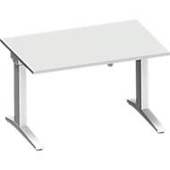 Bureautafel PLANOVA ergoSTYLE, C-poot, rechthoek, eentraps elektr. in hoogte verstelbaar, B 1200 x D 800 mm, lichtgrijs/wit