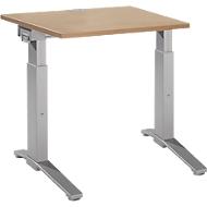 Bureautafel PLANOVA ergoSTYLE, C-poot, rechthoek, handm. in hoogte verstelbaar, B 800 x D 800 x H 675-895 mm, kersen-Romana-patroon/blank aluminium
