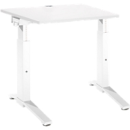 Bureautafel PLANOVA ergoSTYLE, C-poot, rechthoek, handm. in hoogte verstelbaar, B 800 x D 800 x H 675-895 mm, wit/wit