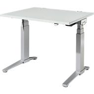Bureautafel PLANOVA ergoSTYLE, C-poot, rechthoek, tweetraps elektr. in hoogte verstelbaar, B 1200 mm, lichtgrijs/blank aluminium