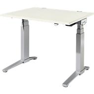 Bureautafel PLANOVA ergoSTYLE, C-poot, rechthoek, tweetraps elektr. in hoogte verstelbaar, B 1200 mm, wit/blank aluminium