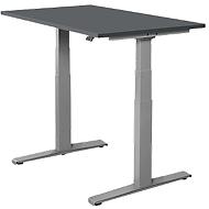 Bureautafel SET UP, T-poot onderstel, 1200x800, elektrisch in hoogte verstelbaar, grafiet