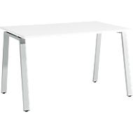 Bureautafel Start Up, A-poot, rechthoek, staal/hout, B 1200 x D 800 x H 735 mm, wit