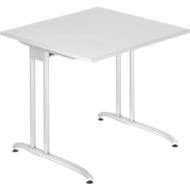 Bureautafel TARA, C-poot, rechthoek, B 800 x D 800 x H 720 mm, lichtgrijs
