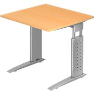 Bureautafel TARVIS, C-poot, rechthoek, B 800 mm, onderstel zilver, in hoogte verstelbaar, beukenpatroon