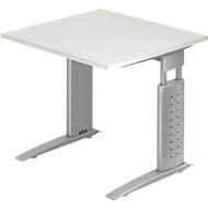 Bureautafel TARVIS, C-poot, rechthoek, B 800 mm, onderstel zilver, in hoogte verstelbaar, lichtgrijs