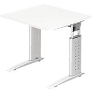 Bureautafel TARVIS, C-poot, vierkant, B 800 mm, onderstel wit, in hoogte verstelbaar, wit