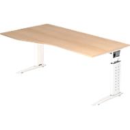 Bureautafel TARVIS, vrije vorm, B 1800 x D 800/1000 x H 680-820 mm, onderstel wit, eikenpatroon