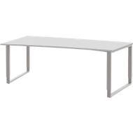 Bureautafel TEQSTYLE, slede onderstel, vrije vorm, links, B 2000 x D 1000/800 x H 680 - 820 mm, wit/wit